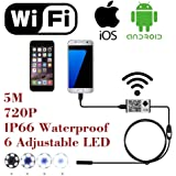 WiFi Wireless Digital Endoscope Borescope Snake Inspection Camera System for iphone iOS ipad Samsung Android Smartphone Cellphone with 6 led light, 9mm, 2 Megapixels, 720P HD, IP66 (5M)