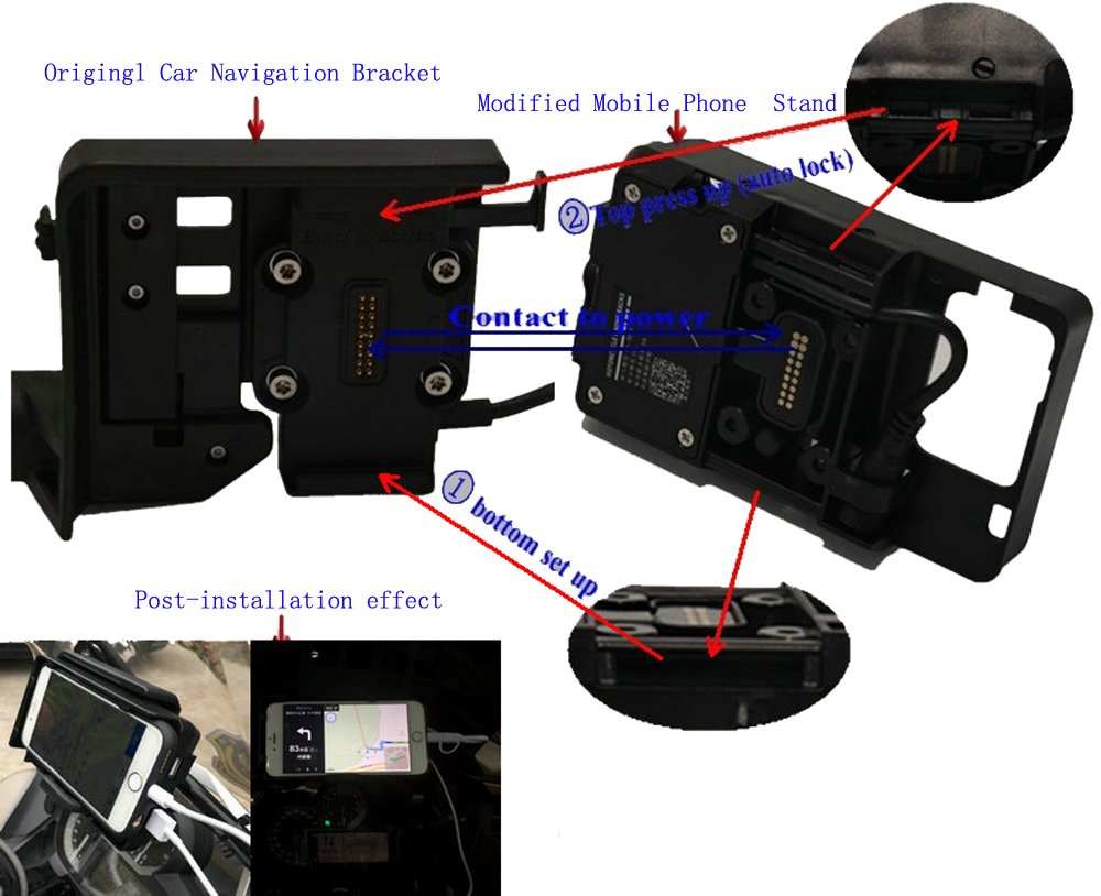 mobile phone Navigation bracket USB phone charging for BMW R1200GS LC ADVENTURE 13-ON