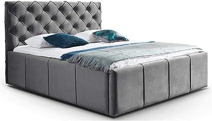 Cama con canapé de terciopelo Nelly XXL, espacio de almacenamiento, estilo Chesterfield, acolchado, somier, cierre de botón