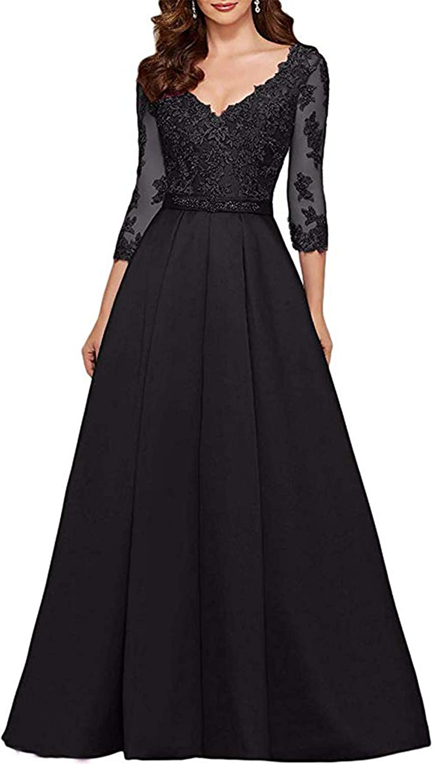 Black Ri Yun Womens V Neck 3 4 Sleeves Prom Dresses Long 2019 Beaded Lace Mother of The Bride Dresses with Pockets