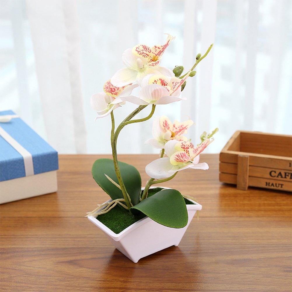 Lingstar 人工植物 人工植物 人工植物 人工植物 人工植物 人工植物 花瓶 蝶 蘭 花 ホワイト花瓶 結婚式 ホームデコレーション ホワイト PHO_03ABRB6X B07H6FS4TB ホワイト