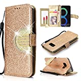 UEEBAI Wallet Flip Case for Galaxy S7 Edge,Glitter PU Leather Cover with Mirror [Diamond Buckle] [Card Slots] [Magnetic Clasp] Stand Function Gems Soft TPU Case for Samsung Galaxy S7 Edge - Gold#2