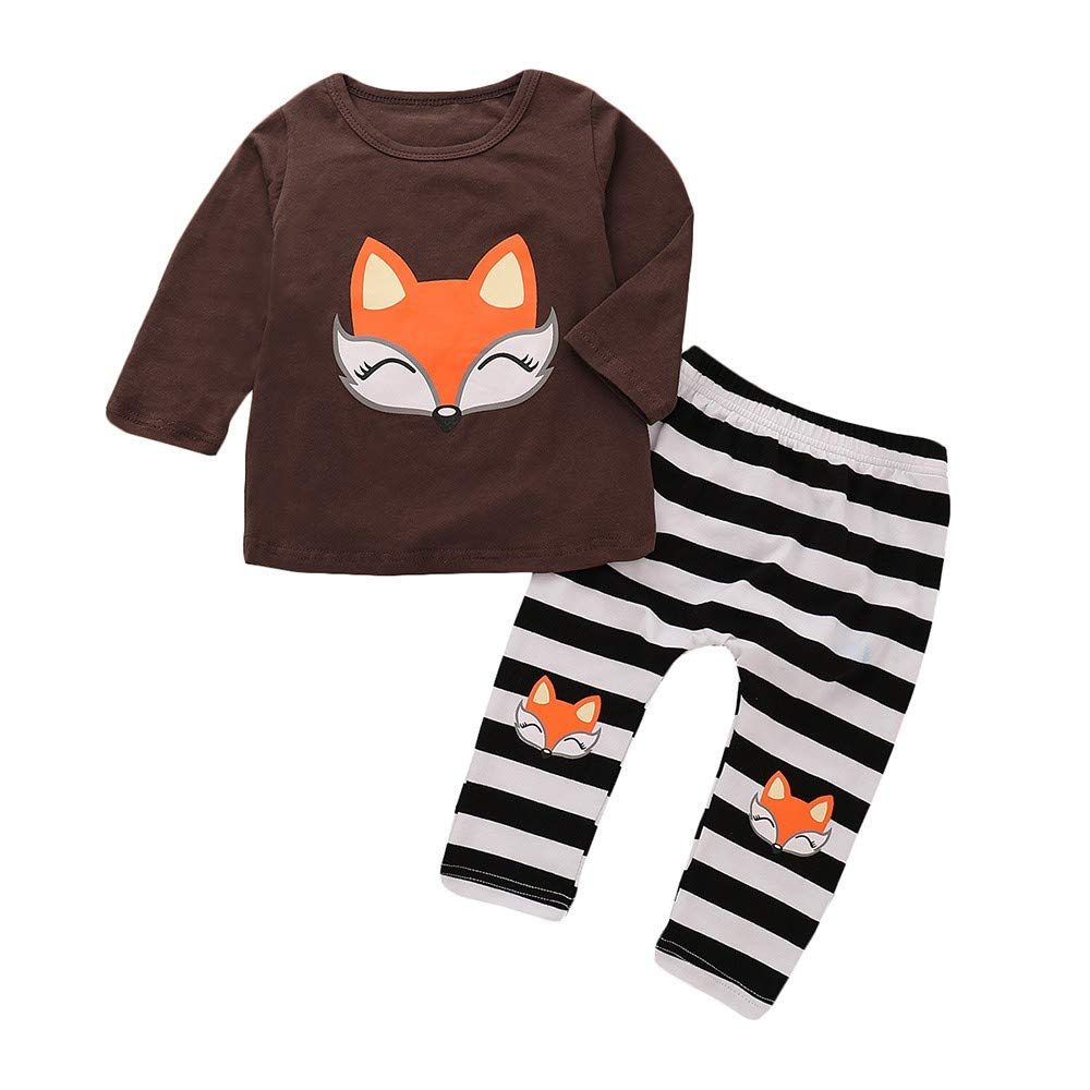Zerototens Boys Clothing Set,0-4 Years Old Infant Baby Boys Long Sleeve Coffee Cartoon Fox T-Shirt Pullover Tops and Striped Pants Autumn Winter Children Casual Outfit Set