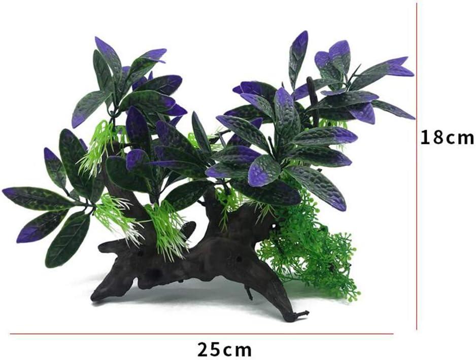 Purple//Green Set Aquarium Plants Fish Tank Decorations Medium-Sized//Tall-7inch Plastic Artificial Plant Goldfish Waterscape Fish Hides Artificial Driftwood