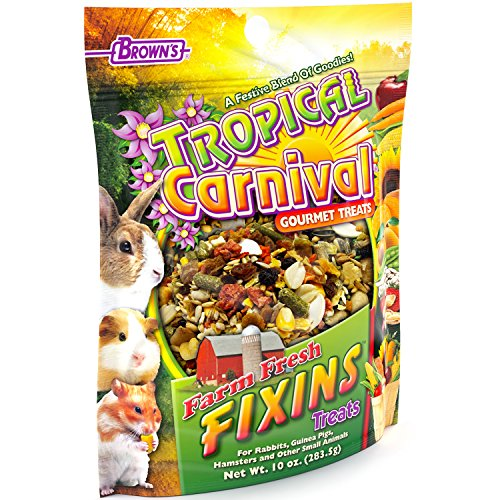 Tropical Carnival F.M. Brown's Farm Fresh Fixins Treats for Rabbits, Guinea Pigs, Hamsters, Rats, Mice, and Other Small Animals, Healthy Mix of Fruits, Veggies, Seeds, and Hay, (Tropical Carnival Hamster Food)