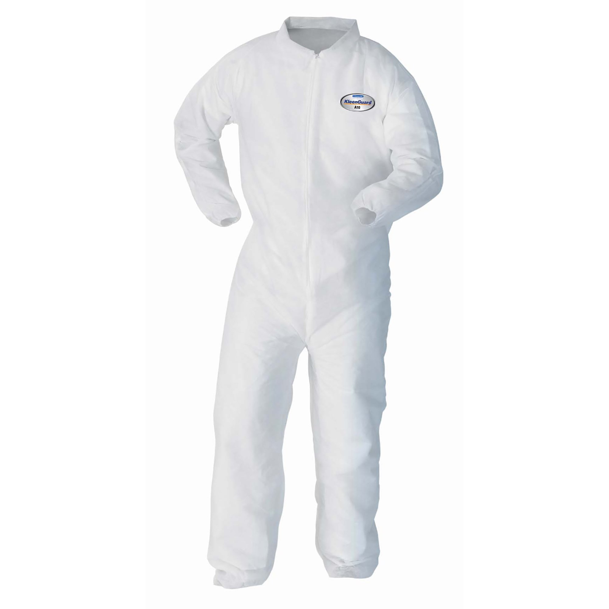 Kleenguard A10 Light Duty Coveralls (10636), Zip Front, Elastic Wrists, Breathable Material, White, XL, 25 / Case