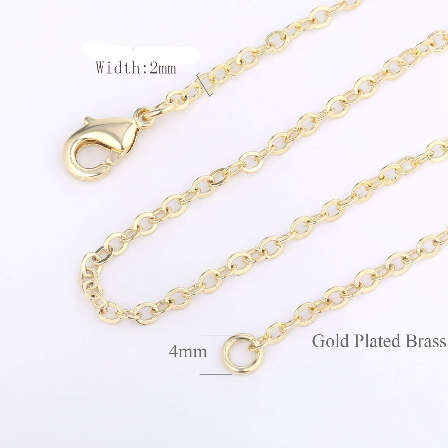 18 Inch Wholesale 12 PCS Gold Plated Over Solid Brass Chain Bulk Finished Chains for Jewelry Making 18-30 Inches 1.5MM