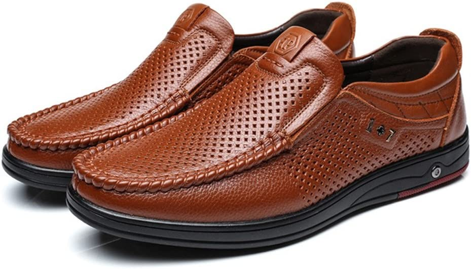 M US Color : Dark BN, Size : 7.5 D Ruanyi Genuine Leather Loafer Men,Classic Genuine Leather Shoes Slip-on Breathable Perforation Soft Flat Sole Loafer Shoe for Men