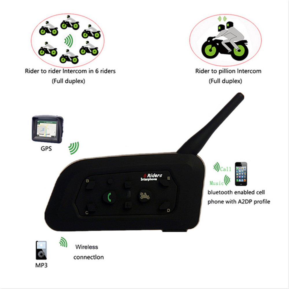 Motorcycle Helmet Bluetooth Wireless Headset Intercom 6 Riders Bluetooth Headset 1200M Intercomunicador BT Interphone