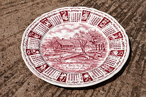 1975 Calendar Collectors Plate || God Bless Our House Throughout 1975 || Alfred Meakin Staffordshir || Porcelain || Signs of the Zodiac - Alfred Meakin China Plates