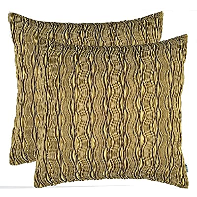 "Set of 2, Artcest Decorative Throw Pillow Case, Comfortable Solid Faux Silk Cushion Cover, Pintuck Pleated Fashion and 3D Striped, 18""x18"" (Forest Green) - MATERIAL Smooth Feel, Cozy Looking, Light Weight and Silky Touch. 100% Polyester, Textured Faux Silk DESIGN The Pattern Side Decorative, the Plain Side Comfortable. 3D stripes are designed in a modern style with good looking in solid colors. The waved dark and bright pintucks on the toss pillow shell bring vividness to your home decor. HANDWORK Zipper closure is hidden almost invisibly alongside the edge of square throw pillow case. Easy to remove for wash. - living-room-soft-furnishings, living-room, decorative-pillows - 61gDyigbCLL. SS400  -"