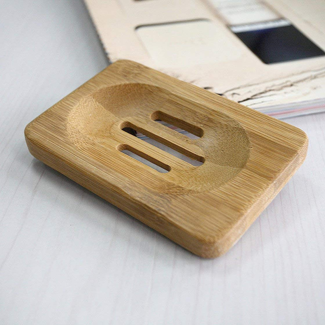 Gwendoll Burly-Wood Ba/ño de ba/ño Jabonera de ba/ño Plato de Ducha Plato de jab/ón Caja de jab/ón de Madera Natural Jab/ón de Viaje Ba/ño Producto de ba/ño