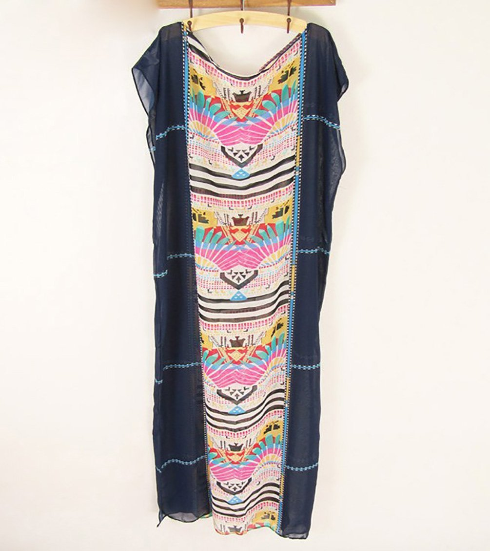 6b1d39f17d Galleon - Bestyou Women s Turkish Chiffon Kaftans Caftan Printed Cover Up  Tunic Free Size (Navy)