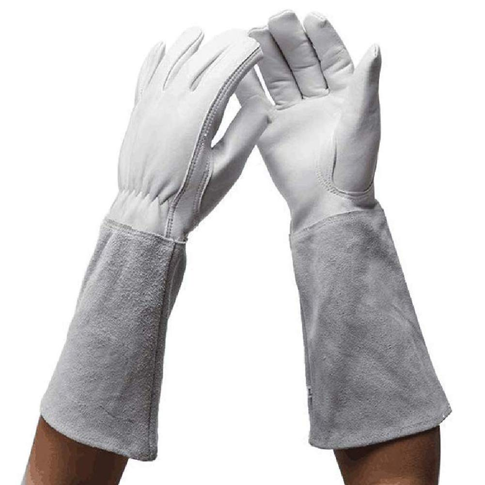 Guantes de jardiner/ía para mujeres//hombres guantes de cuero guantes de protecci/ón laboral blanco resistentes a pu/ñaladas y a los cortes color blanco 2 Small