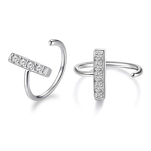 efbf86d2e13c0 WINNICACA Huggie Hoop Earrings Sterling Silver CA/Blue Opal/White Opal Hoop  Body Piecing Nose Rings for Women Girls Gifts Jewelry