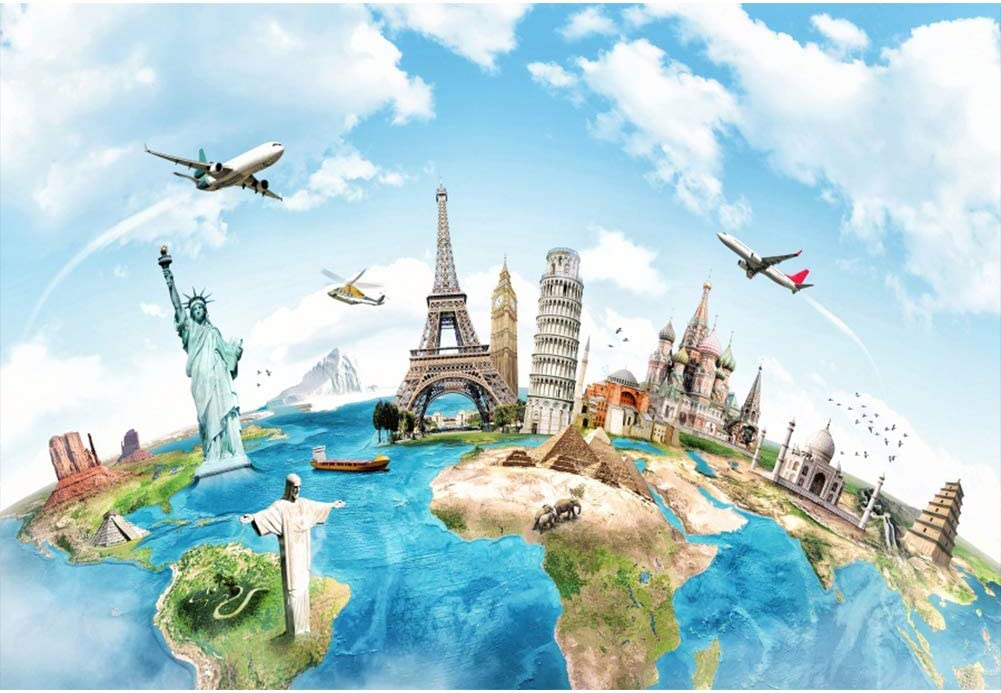 Yeele 9x6ft Globe Travel Backdrop Earth Map Worldwide Continent Famous Landmark Scenery Home Photography Background Infant Baby Adult Portrait Photo Booth Vinyl Wallpaper Photocall Studio Props