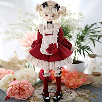 RAVPump BJD Doll Clothes, 5 Pieces 1/6 Ball Jointed Dolls Clothes Full Set Maid Apron Dress Outfit Set for BJD Dolls: Toys & Games