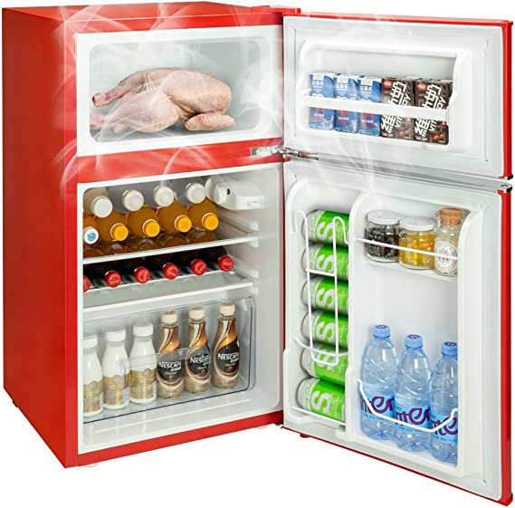 ROVSUN Double Door Compact Refrigerator with Freezer Red 3.2 CU FT Mini Fridge for Bedroom Office Dorm with Removable Glass Shelf