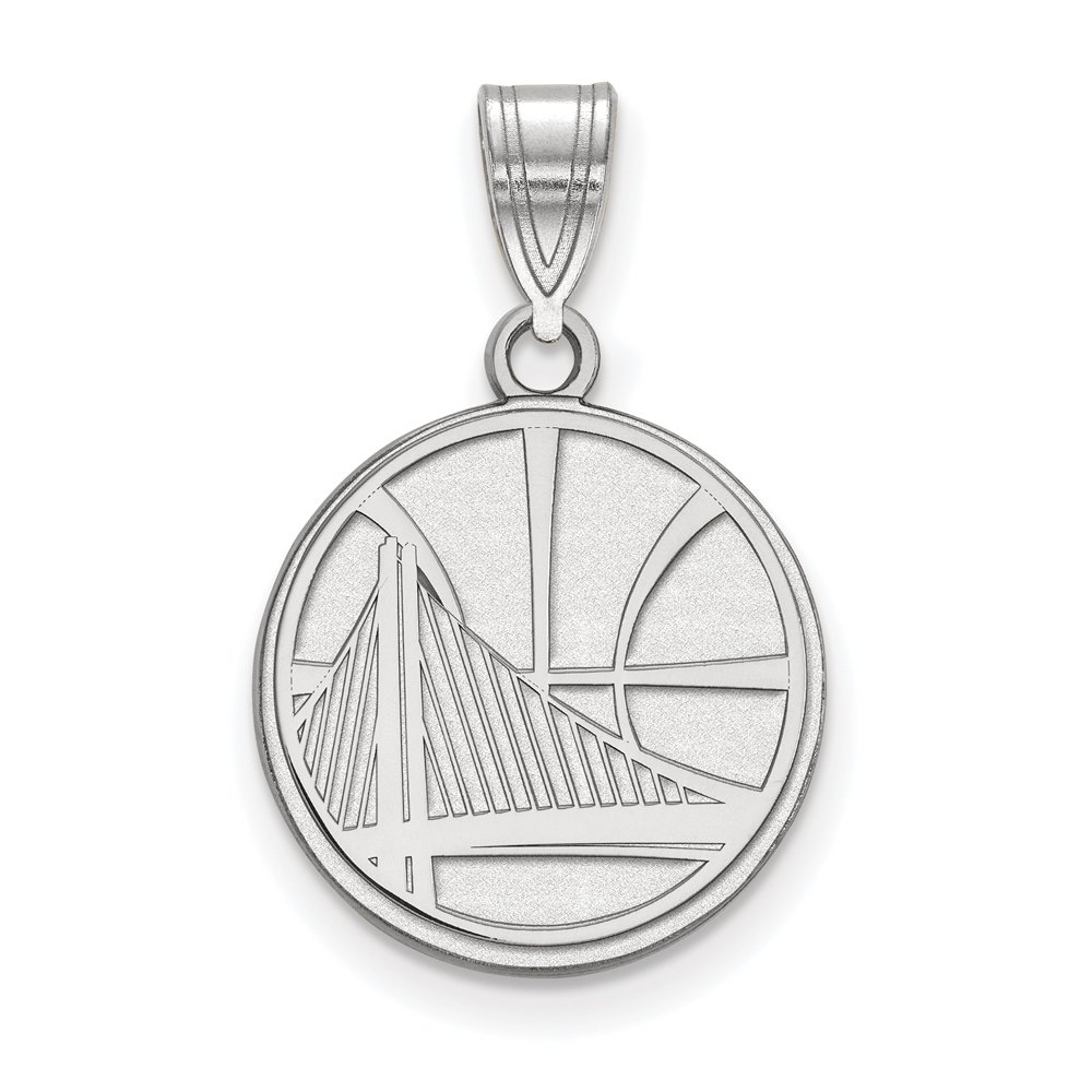 NBA Golden State Warriors Medium Logo Pendant in Rhodium Plated Sterling Silver