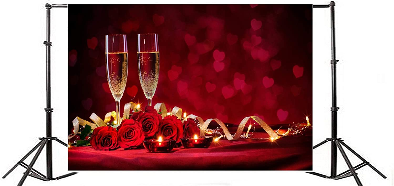 Leyiyi 10x10ft Photography Background Valentines Day Lovers Dinner Appointment Backdrop Blossoming Roses Pokals Champagne Blurry Transparent Love Heart Virtual Defocus Spots Red Background