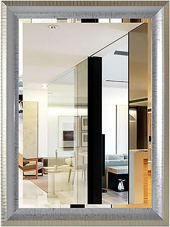 DH JINGZI - Espejo para maquillarse Espejo montado en la Pared súper Transparente Gancho de Metal baño Simple Moderno Rectangular 5MM Plata Espejo PS plástico, 2 tamaño: Amazon.es: Hogar