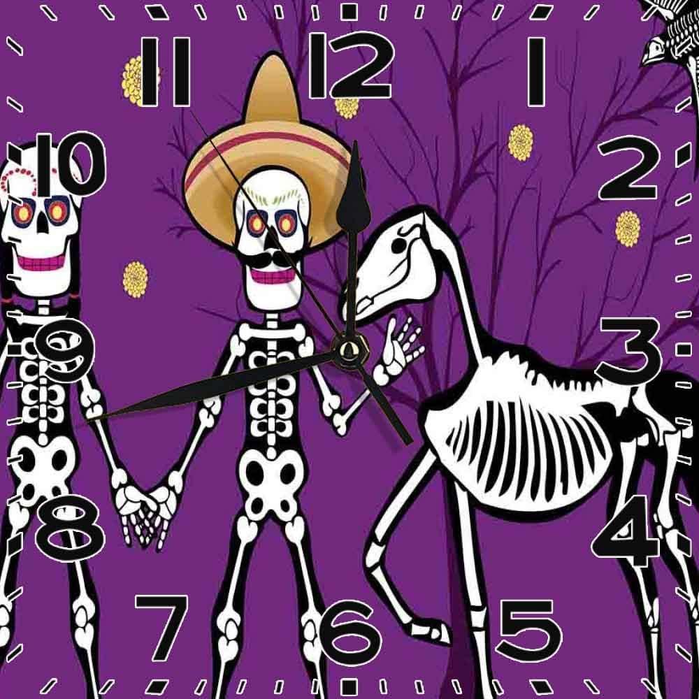 jifyasuo Reloj Cuadrado Día de los Muertos Husb Esposa Esqueletos con HS Caballo Muerto un pájaro Púrpura Silencioso Decoración de Oficina en casa Reloj Decoración de Oficina