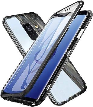 Gypsophilaa Coque Magnétique Samsung S9,Galaxy s9 Coque Adsorption Magnétique Avant et Arrière Verre Trempé Transparent Couverture Plein écran ...