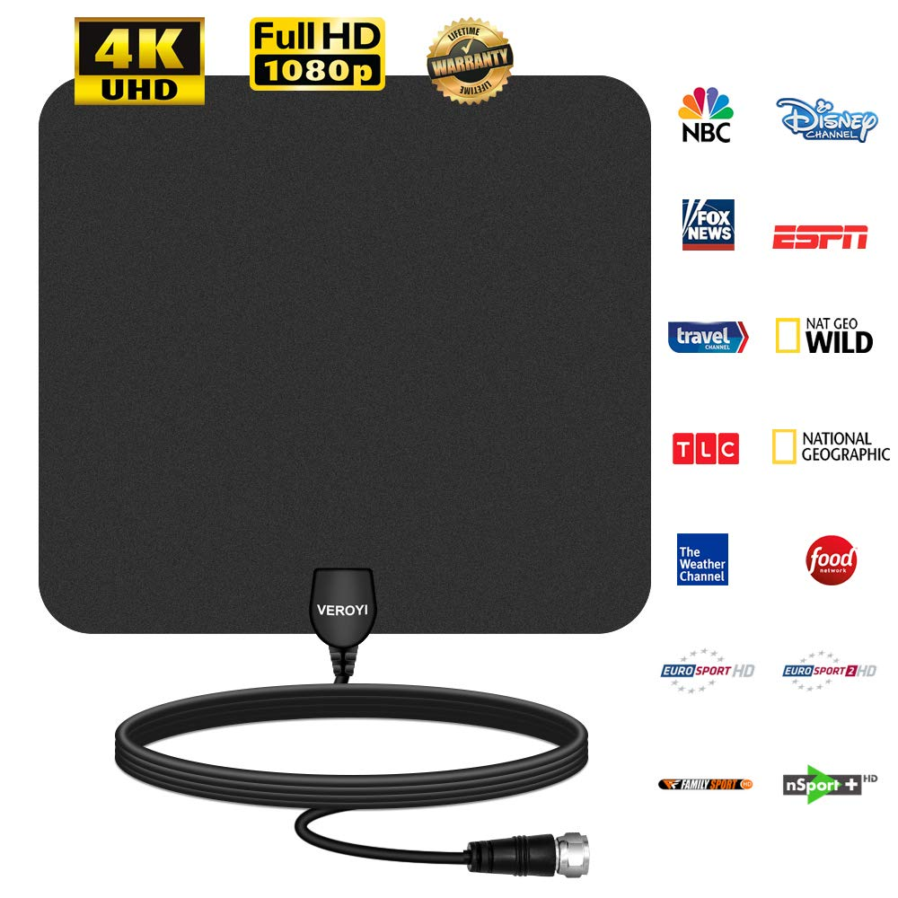 Veroyi AT-01 HD TV Antenna, 80 Miles Upgraded Amplified Indoor Digital HDTV Antenna with Detachable Signal Booster, USB Power Adapter and 16.5ft Coaxial Cable
