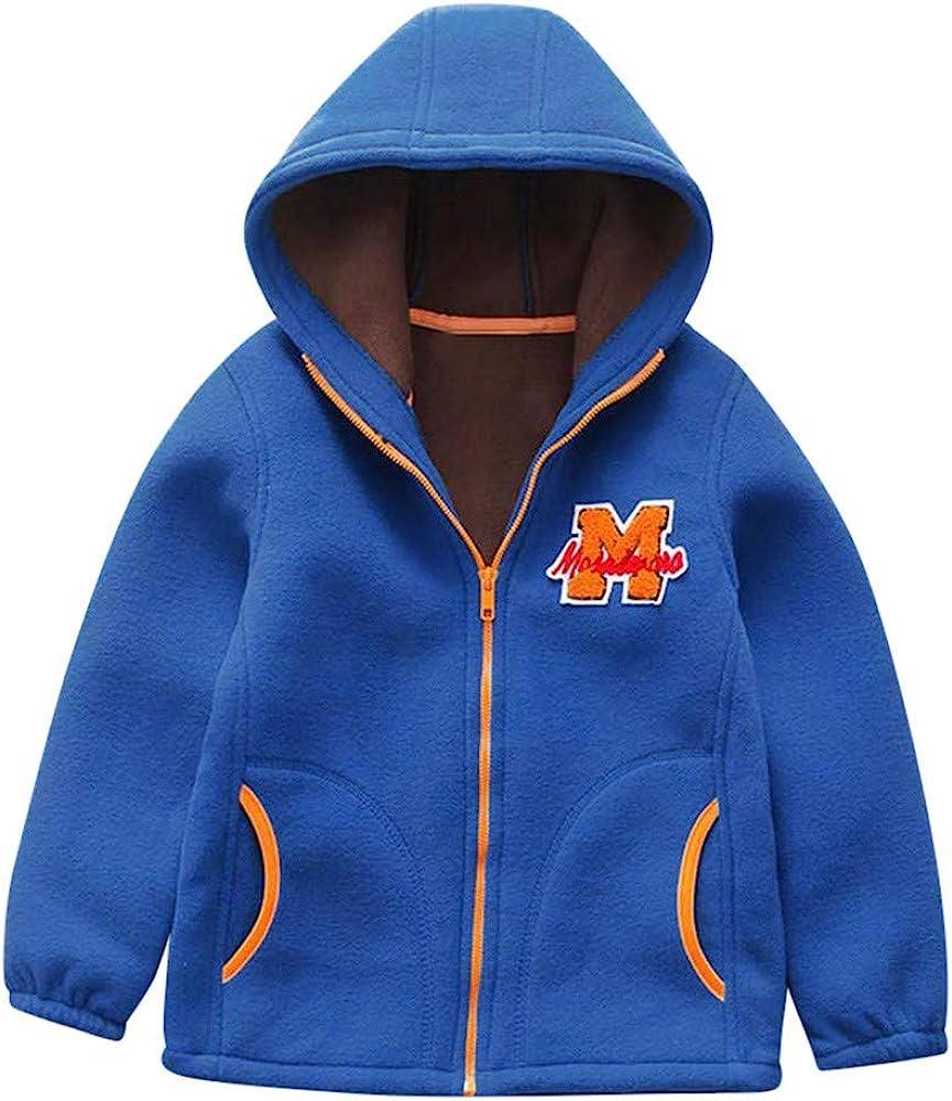 Rosiest Toddler Kids Baby Boys Fleece Hooded Jackets Baseball Coat Outwear Warm Clothing