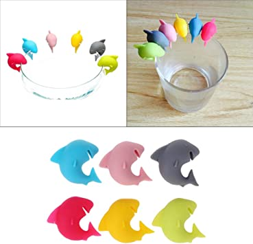 6pcs Silicone Cup Marker Wine Glasses Recognizer Shark Party Dedicated Tag QL