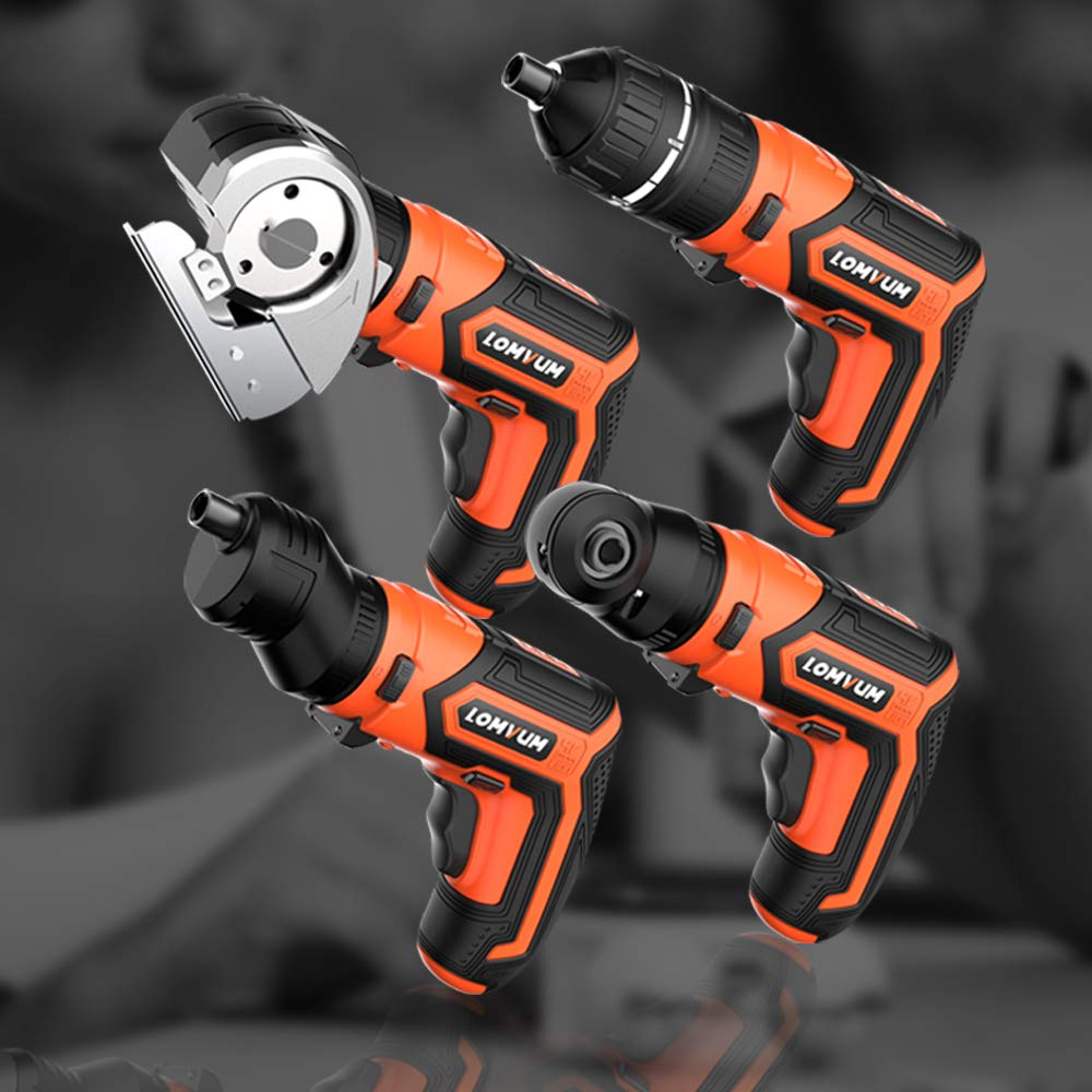 Lomvum 4V Electric Cordless Screwdriver with Built-in 1500mAh Li-ion Battery Rechargeable Screwdriver 5-in-1 Drill/Driver System