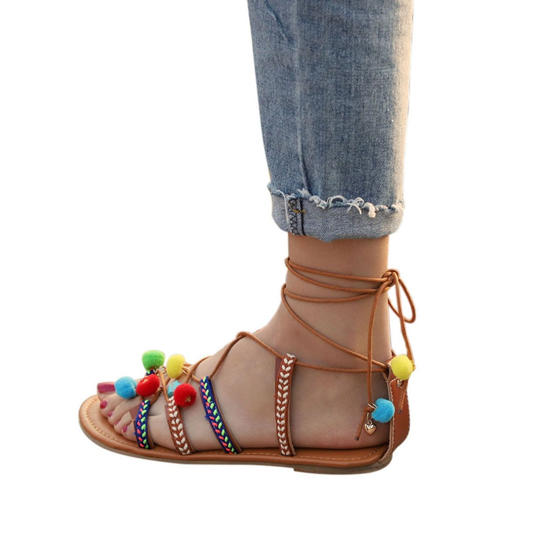 Sommer Frauen Bouml;hmen Sandalen EUZeo Gladiator Leder Sandalen Wohnungen Schuhe Pom-Pom Sandalen Abendschuhe Casual Sandalen Outdoor Schuhe Boden Hausschuhe Bequeme Schuhe 33-42  36|Multicolor
