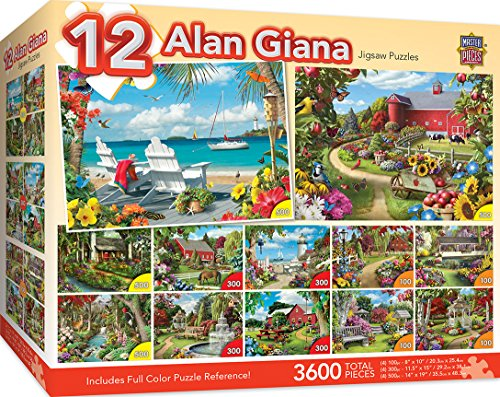 Garden Back Collection - MasterPieces Alan Giana Collection - Country & Garden Scenes 12 Pack Jigsaw Puzzles
