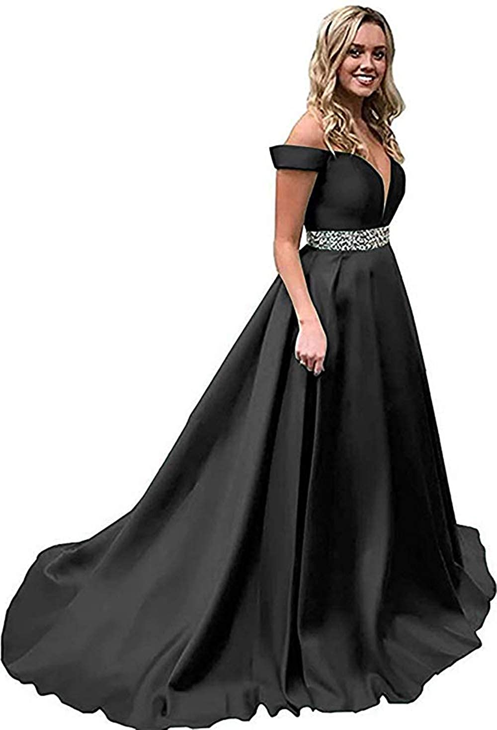 Black Rmaytiked Womens Off The Shoulder Prom Dresses Long Beaded 2019 Satin A Line Formal Evening Ball Gowns with Pockets