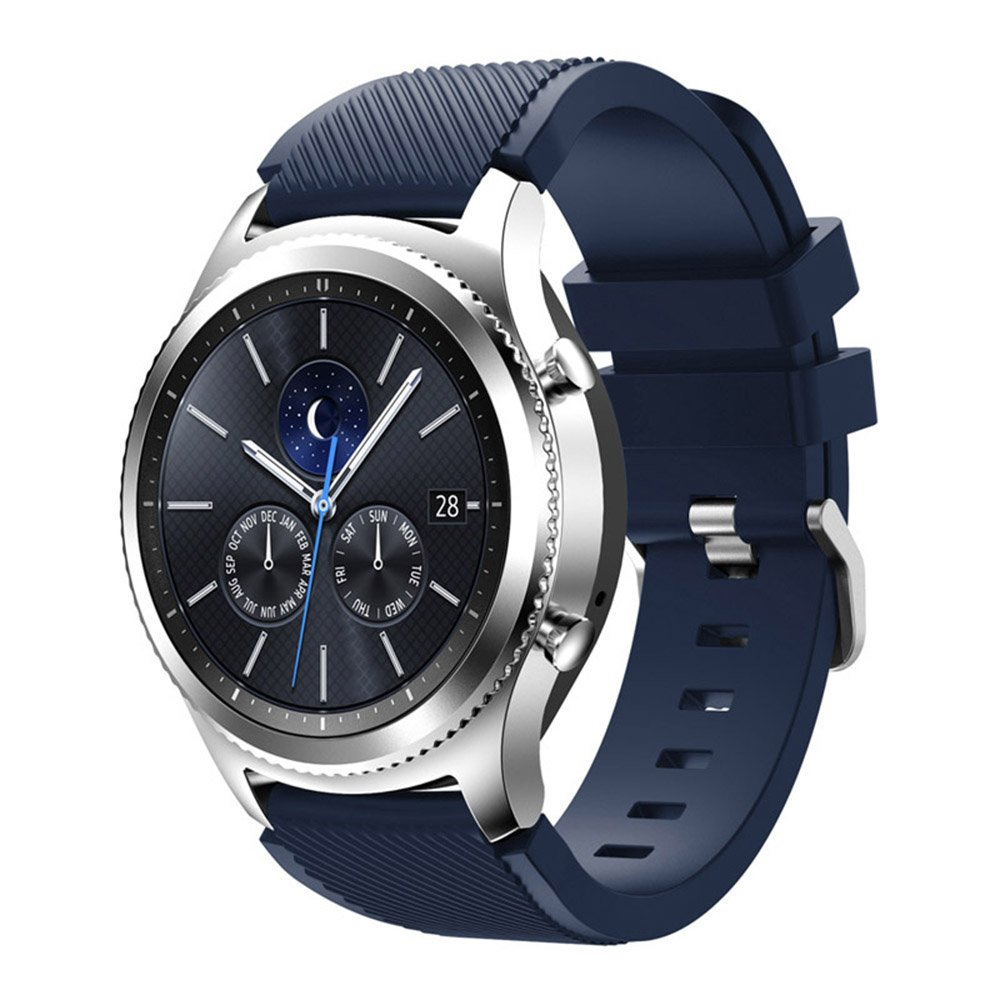 Compatible for Samsung Galaxy Watch Band 46mm, Gear S3 Band Silicone Strap Sport Wristband Replacement Band for Samsung Gear S3 Frontier/Gear S3 Classic Watch Band Bracelet Accessory (Midnight Blue)