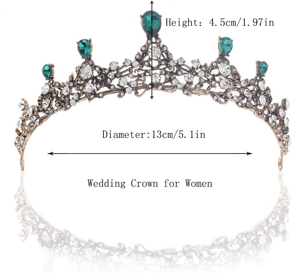 Simsly Vintage Wedding Crowns and Tiaras Flower Queen Rhinestones Crystal Headband for Women and Girls HG-26 Gold 7