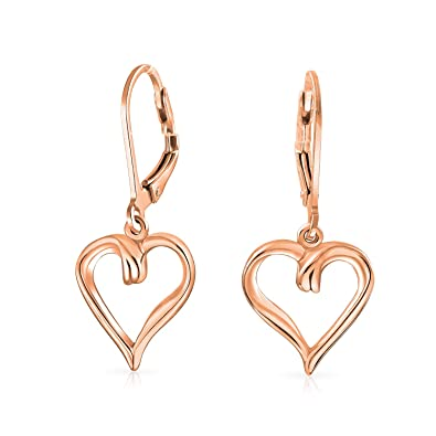 0662dab14 Open Heart Shaped Romantic Dangle Leverback Earrings For Women For  Girlfriend 1.5 Inch Rose Gold Plated Sterling Silver: Amazon.co.uk:  Jewellery