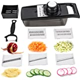 Vegetable Chopper Mandoline Slicer Multi Function Potato Slicer + Peelers Cutter for Cucumber, Onion, Cheese with 5 Stainless Steel Blades - Black