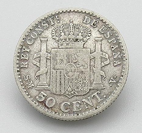 Desconocido Moneda 50 Cent de Plata del Año 1904 Durante La Epoca de Alfonso XIII. Moneda Coleccionable. Moneda Antigua.: Amazon.es: Juguetes y juegos