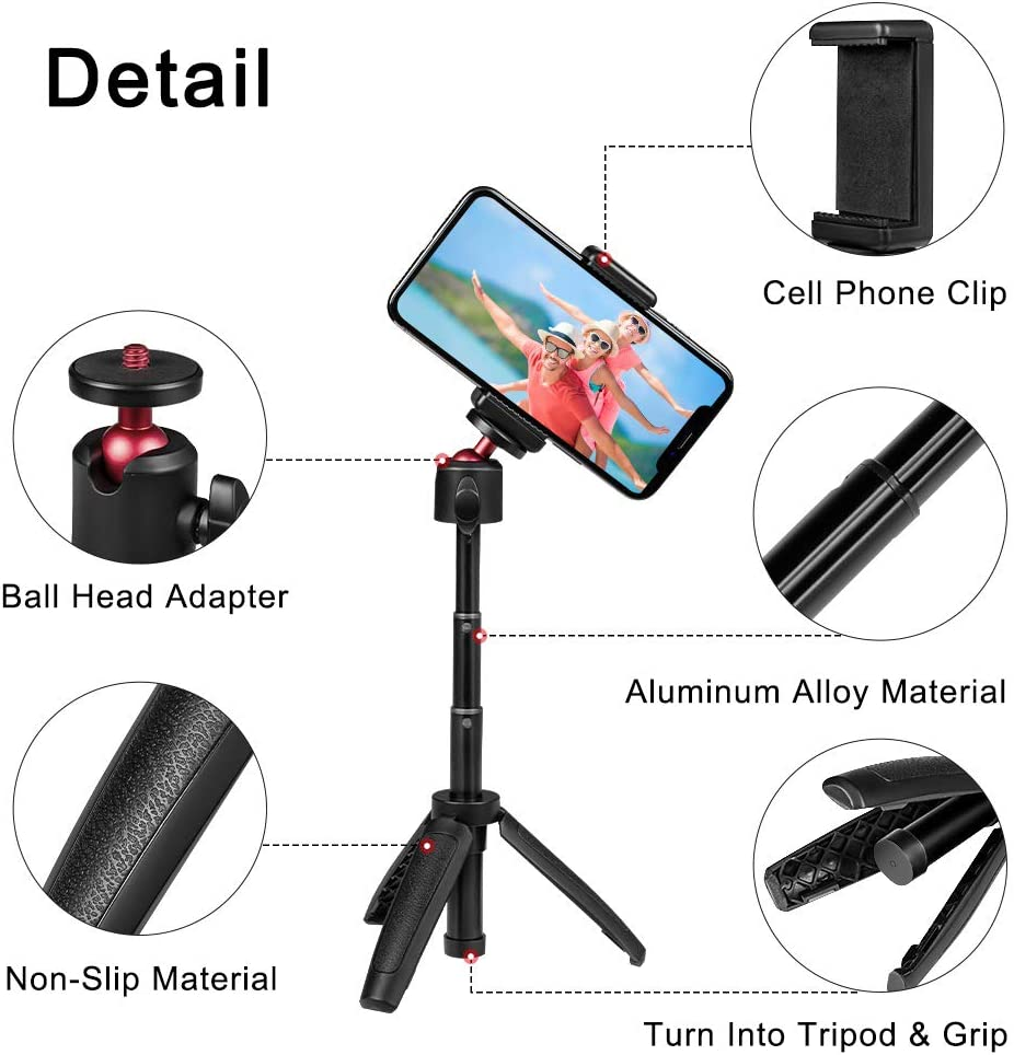 Taisioner Mini Selfie Stick Tripod Handle Grip Three in One for GoPro AKASO OSMO Action Camera Cell Phone and InterchangeableLensDigitalCamera for Vlog : Camera & Photo