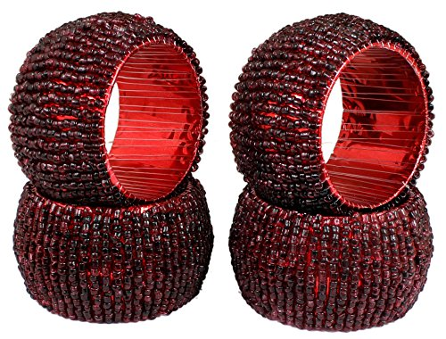 [Set of 4 - Maroon Napkin Rings Decoration - Indian Handmade Beaded Napkin Rings - Dia 2.5 Inches] (Homemade Halloween Decorations Made From Paper)