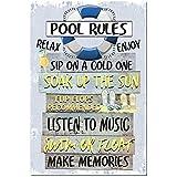 Dye-namic Art Pool Rules Metal Sign Swimming Pool Sign 8x12 Indoor/Outdoor Aluminum Sign Pool Decor