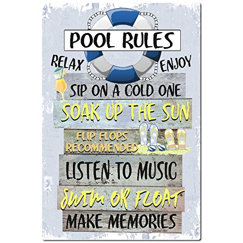 Dyenamic Art Pool Rules Metal Sign Swimming Pool Sign Blue 8x12 Indoor/Outdoor Aluminum Sign Made in USA