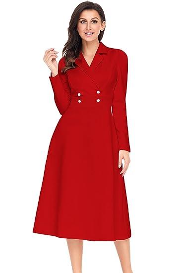 Neue, Rot, Vintage, Retro Midi-Kleid für Sommer Party Abend-Tanz ...