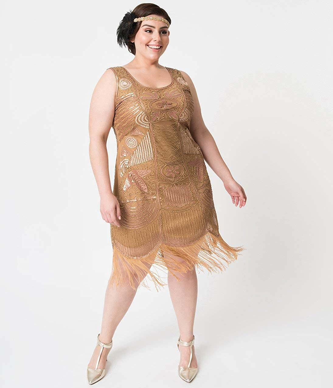 3bb2ed83f38 Unique Vintage Plus Size 1920s Style Gold Beaded Fringe Raina Flapper Dress  at Amazon Women s Clothing store
