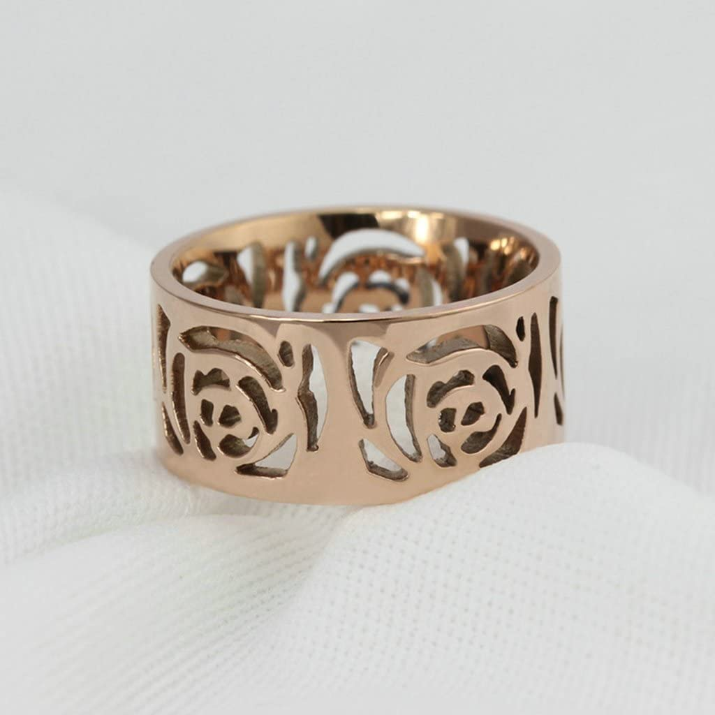 Tianyi Rose Gold 10mm Stainless Steel Ring Band Engraved Flower Hollow Design