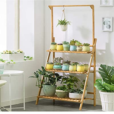 KCPer 3-Tier Bamboo Hanging Plant Stand Foldable Pot Racks Flower Organizer Display Shelves Indoor and Outdoor Use US Stock : Garden & Outdoor