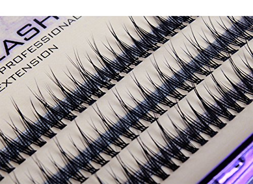 Scala 120pcs 8-10-12mm Fish Tail Design 0.1 C Curl 3D Individual Mink False Eyelashes Extension Soft Black Fake False Eye Lashes (10mm)