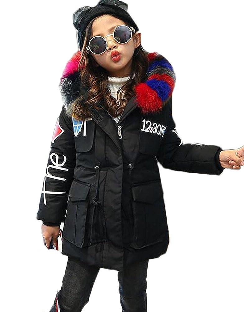 MILEEO Girls Jacket Kids Fur Warm Thick Coat Jackets Age 4-12 Years