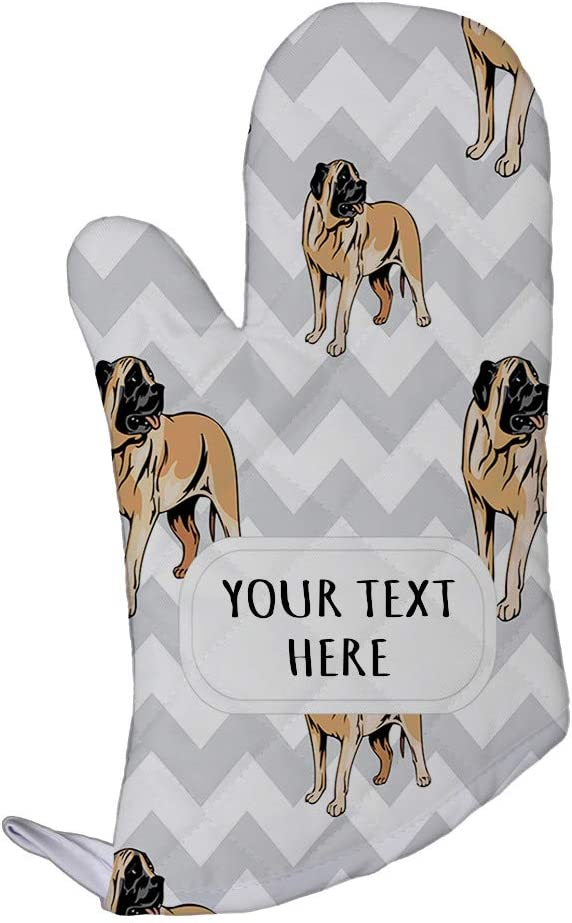 Style In Print Polyester Oven Mitt Custom American Mastiff Dog Gray Zigzag Pattern Adults Kitchen Mittens